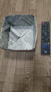 新聞紙で作った枡(ます) 折り紙の箱の作り方