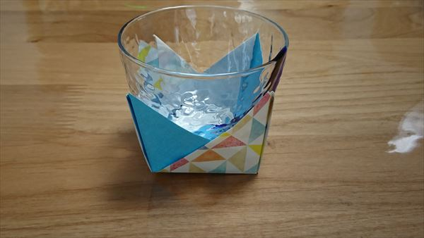 七夕の折り紙のコースター2枚重ね
