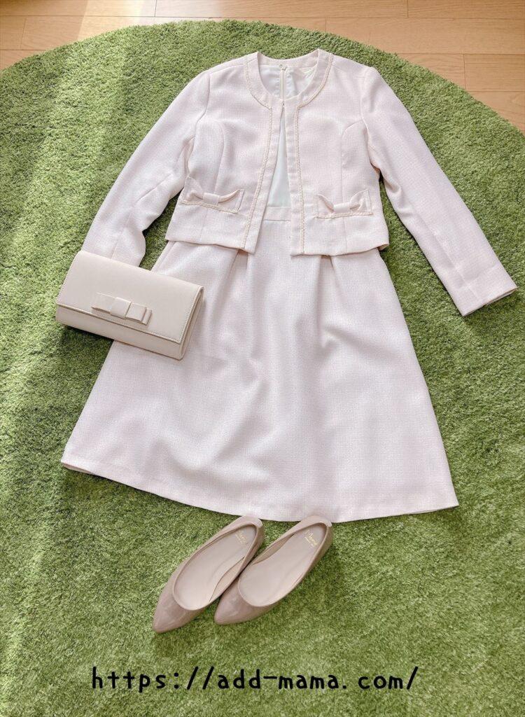 ピンクベージュスーツに合う靴やバッグの色2 クリーム・ベージュ
